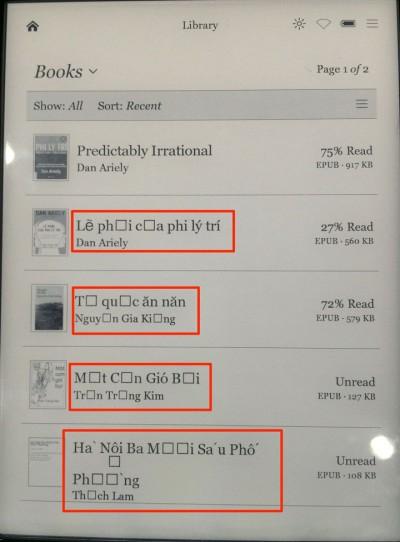 Cài Font Tiếng Việt cho máy đọc sách Kobo